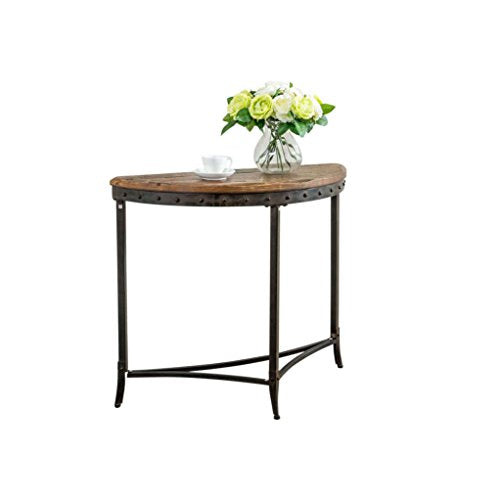 Rustic Distressed Pine and Metal Half Circle Console Entryway Table with Nailhead Trim