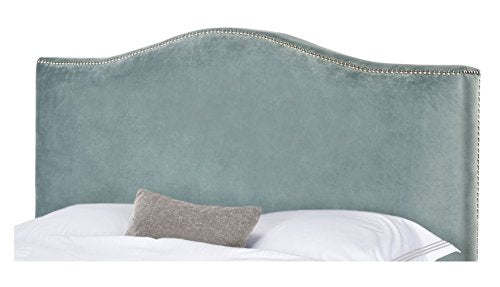 Arched Velvet Upholstered Aqua Headboard with Silver Metal Nailheads for Queen Bed Frame