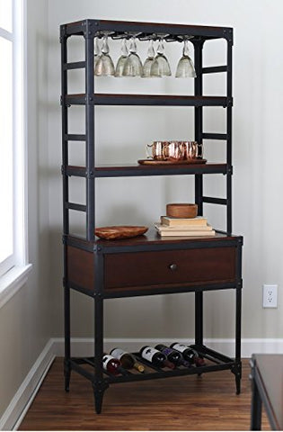 Modern Industrial Black Metal and Espresso Wood Bakers Rack for Kitchens with Drawer, Wine Rack and Wine Glass Storage