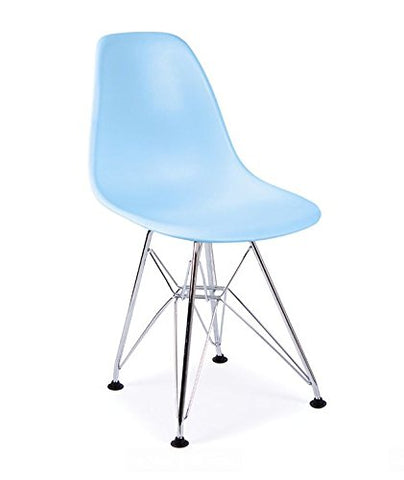 ModHaus Mid Century Modern CHILDREN KIDS Blue DSR Chair with Eiffel Chrome Steel Base - Inpired by Eames Design - HIGH QUALITY Matte Finish