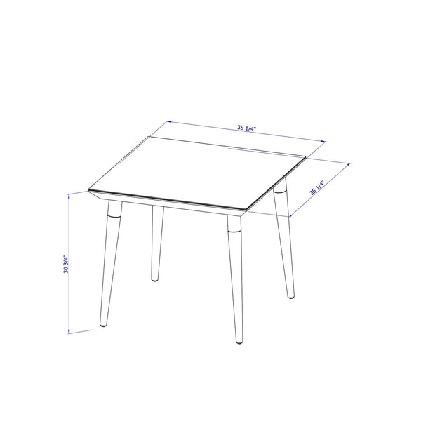 Contemporary Modern Glass Top Beveled Square Dining Table with Two Tone Splayed Wood Legs (Off White)
