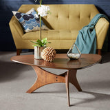 Mid Century Modern Triangle Wood Accent Cocktail Coffee Table