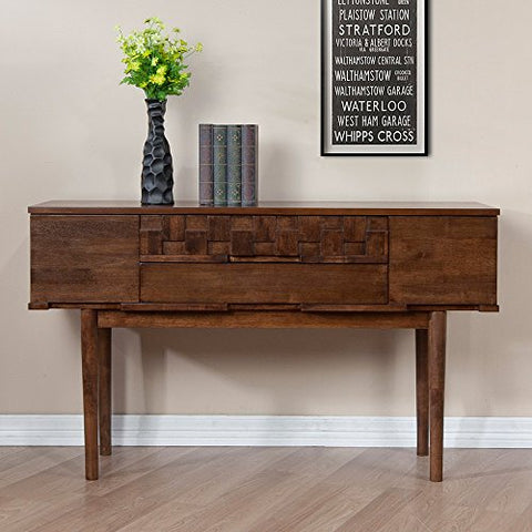 Modern Retro Brown 4 Drawer Sofa Table with Metal Glides