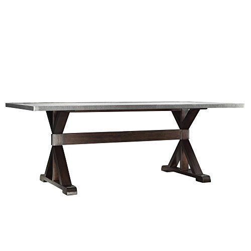 Trestle Style Dark Wood Dining Table with Stainless Steel Top