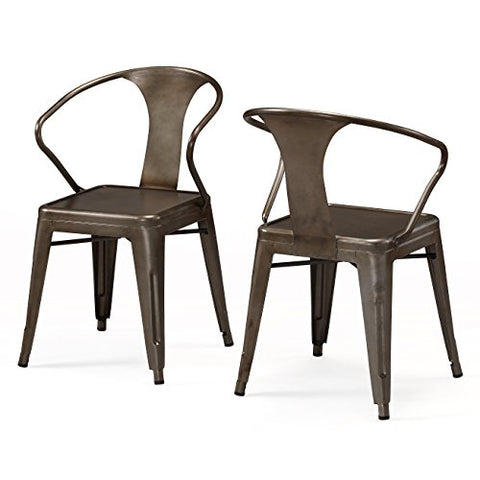 Set of 4 Bronze Metal Chairs in Glossy Powder Coated Finish Metal Stackable Dining