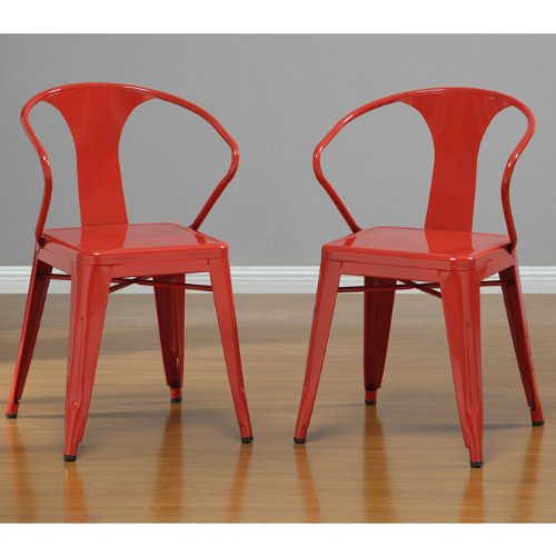 Set of 4 Red Metal Chairs in Glossy Powder Coated Finish Stackable Dining