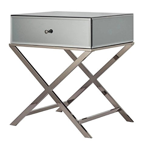 Contemporary Glass Mirrored Accent Nightstand End Table with 1 Drawer and X Metal Legs  (Smoke Black)