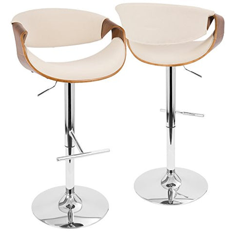Groovy Mid Century Modern Wood Upholstered Swivel Counter Barstool With Chrome Footrest Cream Cjindustries Chair Design For Home Cjindustriesco