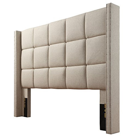 Modern Button Tufted Queen Wingback Multi Square Beige Upholstered Padded Headboard with Metal Nailheads