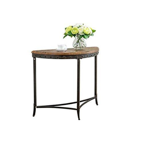 Modern Rustic Distressed Solid Pine Wood Accent Console Sofa Entry Table with Nailhead Trim