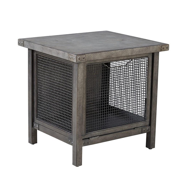 Industrial Rustic Metal Wire Mesh Accent End Side Table with Concrete Top
