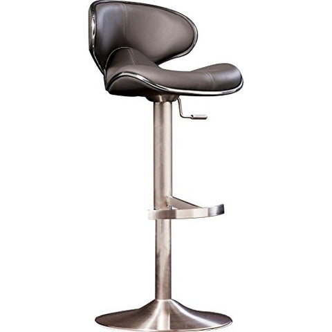 Remarkable Modern Swivel Adjustable Height Design Counter Bar Stools With Gray Faux Leather Seat Stainless Steel Pedestal Base Gray Theyellowbook Wood Chair Design Ideas Theyellowbookinfo