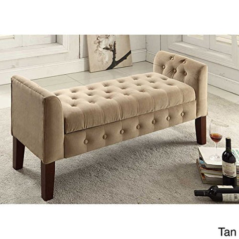 Tan Button Tufted Storage Bench Ottoman Living Room Furniture - Brown Wood Finish