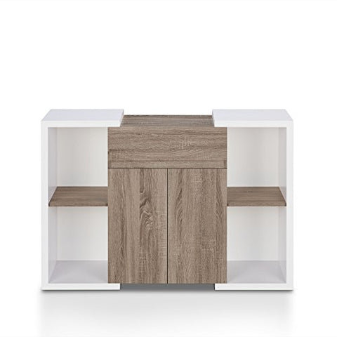 Contemporary Rustic Two Tone Dining Buffet with Shelves