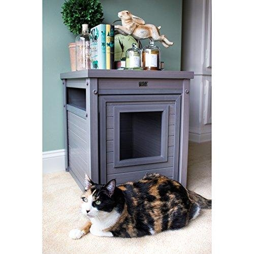 Contemporary EcoFlex End Table with Hidden Kitty Litter Box - Includes Modhaus Living Pen (Gray)