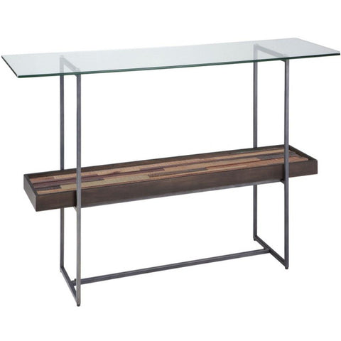 Modern Accent Wood and Metal Tempered Glass Top Console Sofa Table