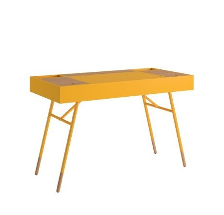 Modern Retro Two Toned 4 Compartment Writing Desk with Tapered Legs  (Yellow)