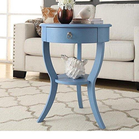 Incredible Modern Wood Accent Nightstand End Sofa Table Round Shaped With Storage Drawer And Bottom Shelf Light Blue Gmtry Best Dining Table And Chair Ideas Images Gmtryco