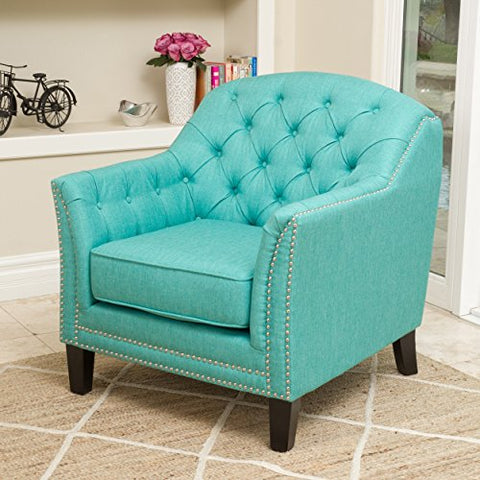 Modern Transitional Button Tufted Upholstered Accent Club Chairs with Nailheads and Espresso Wood Legs (Teal)