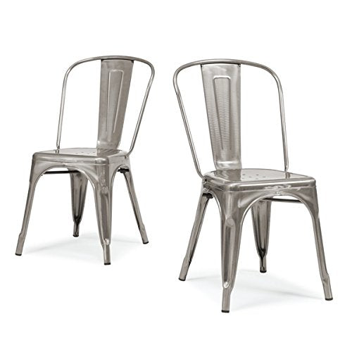 Set of 2 Gunmetal Metallic Steel Xavier Pauchard Tolix a Style Chairs in Powder Finish