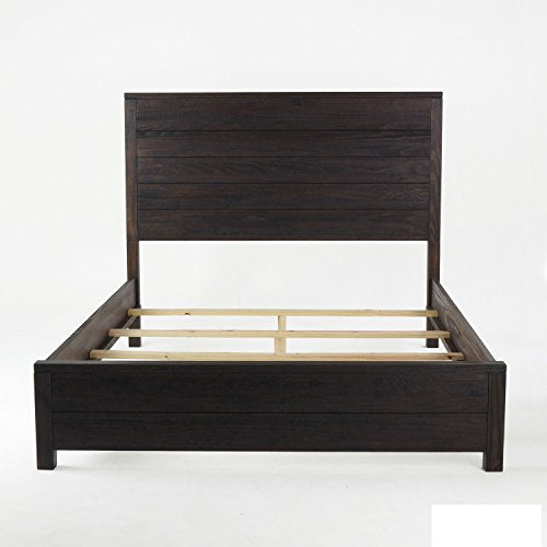 Contemporary Rustic Queen Size Solid Wood Panel Bed (Barnwood Finish)