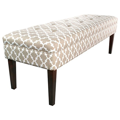 Contemporary Button Tufted Geometric Print Upholstery Bench with Espresso Finished Legs  (Beige)