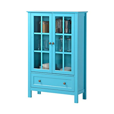 French Modern Glass Curio Display China Cabinet in Turquoise Paint Finish