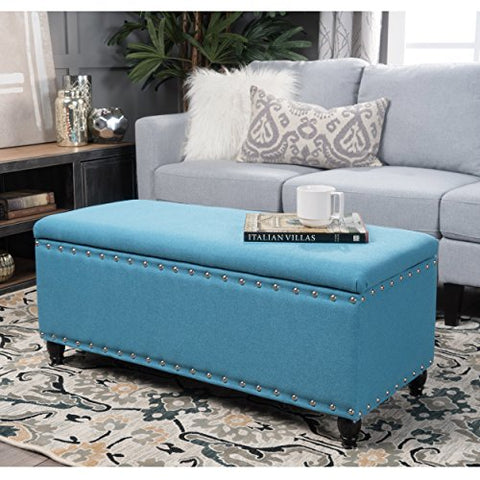 Contemporary Upholstered Storage Ottoman Bench with Silver Nailhead Trim and Dark Brown Turned Legs  (Teal)