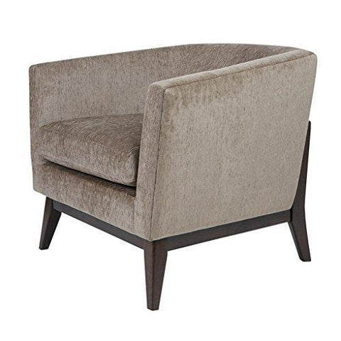 Mid Century Retro Modern Style Taup Upholstered Wide Tub Accent Armchair with Brown Wood Frame