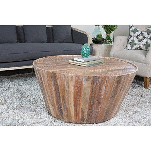 Contemporary Rustic Distressed Wood 32 inch Round Barrel Coffee Table with Limed Wash Finish