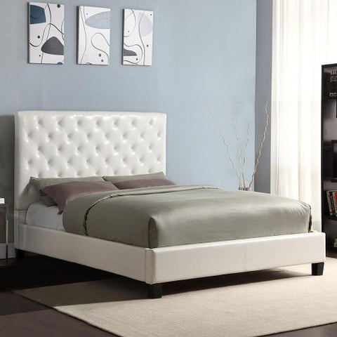 89395327c4 Modern Diamond Button Tufted Faux Leather Upholstered Padded Square Queen  Headboard & Platform Bed in White
