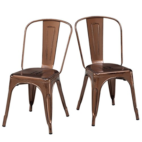 Set of 2 Antique Copper Metallic Steel Xavier Pauchard Tolix A Style Chairs