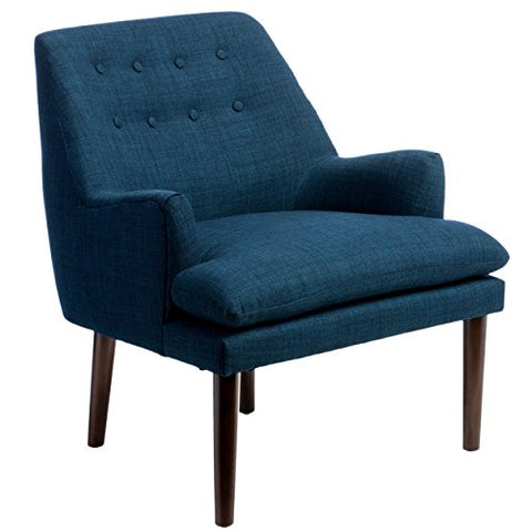 Mid Century Navy Blue Tufted Back Upholstered Cushioned Accent Arm Chair with Espresso Wood Legs