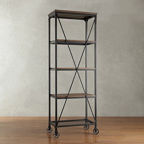 Modern Industrial Rustic Riveted Black Metal & Wood Bookcase Shelf with Decorative Wheels