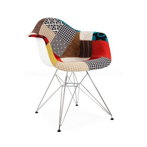 ModHaus Mid Century Modern Eames Style DAR Patchwork Fabric Upholstered Armchair with Chrome Eiffel Base