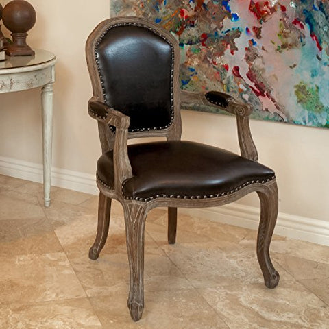 Transitional Rustic Wood Bonded Leather Upholstery Accent Armchair with Nailhead Trim