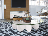 Contemporary Round Glass Top Accent Coffee Table with Cloud Design Base (Off White)