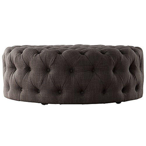 Awe Inspiring Modern Round Linen Tufted Cocktail Coffee Table Ottoman With Casters Dark Gray Short Links Chair Design For Home Short Linksinfo