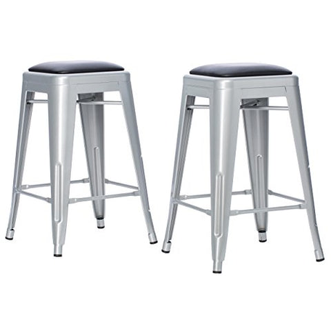Set of 2 Padded Bonded Leather French Bistro Silver Tolix Style Metal Counter Stools in Glossy Powder Coated Finish Steel Stackable