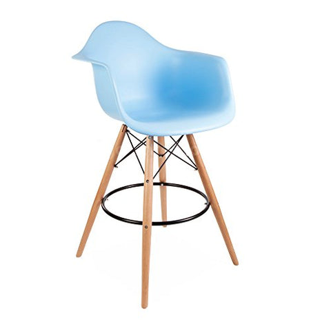 ModHaus Mid Century Modern Eames DAW Style Blue Counter Stool Chair with Dowel Wood Base HIGH QUALITY Satin Finish