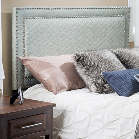 Modern Upholstered Padded Blue Gray Linen Fabric Queen Headboard with Silver Nailheads