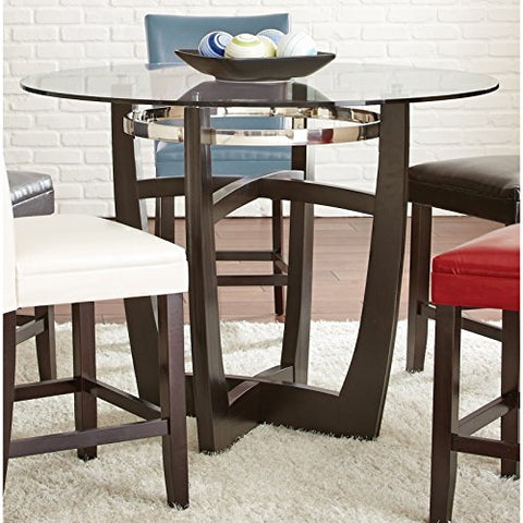 Modern Wood Tempered Glass Top Dining Table with Chrome Finished Metal Accents