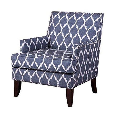 Cool Contemporary Blue White Ikat Quatrefoil Print Upholstered Accent Armchair With Dark Wood Legs And Nailhead Trim Uwap Interior Chair Design Uwaporg