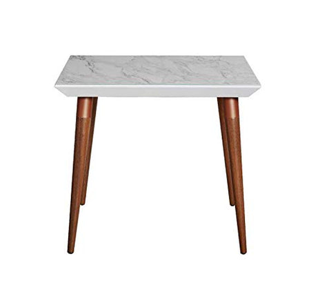 Contemporary Modern Glass Top Beveled Square Dining Table with Two Tone Splayed Wood Legs (White Gloss Marble Finish)