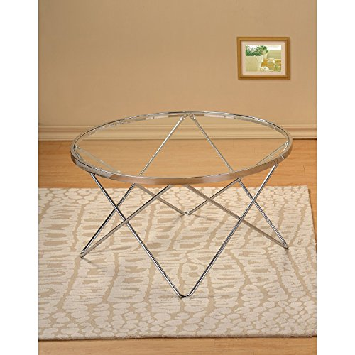 Stylish Modern Art Deco Round Glass Style Chrome Silver Metal Coffee Table with Glass Top