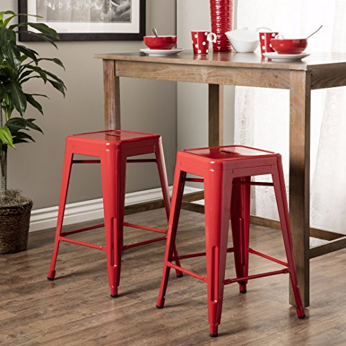 Set of 2 Red French Bistro Tolix Style Metal Counter Stools in Glossy Powder Coated Finish