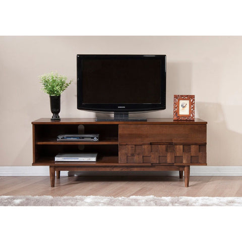 Mid Century Danish Style Wooden 59 in. Media Console TV Stand in Rich Medium Brown Finish with 2 Drawers