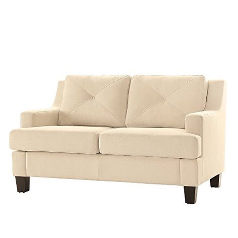 Modern Linen Upholstered Button Tufted Back Cushions Loveseat with Espresso Finish Legs  (White)