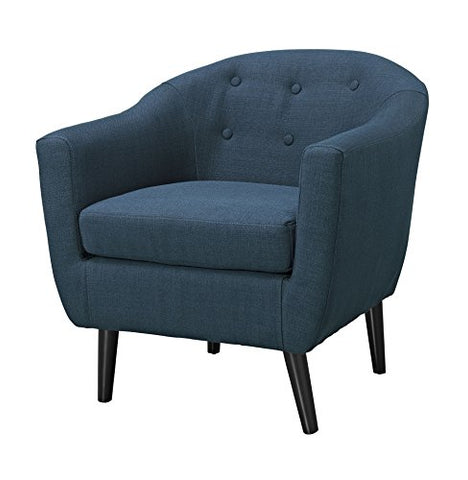 ModHaus Mid Century Style Navy Blue Button Tufted Upholstered Accent Armchair with Tapered Espresso Wood Legs