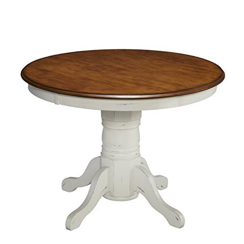 French Country Cottage 42 inch Round White & Oak Wood Pedestal Dining Table